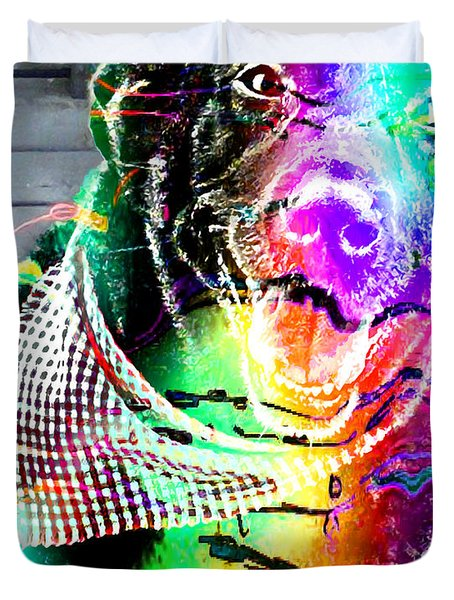 Psychedelic Black Lab With Kerchief Duvet Cover by Barbara Griffin