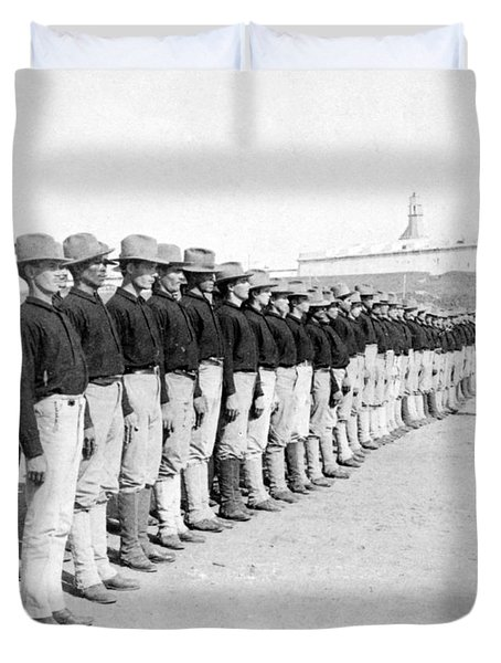 Puerto Ricans Serving In The American Colonial Army - C 1899 Duvet Cover by International  Images