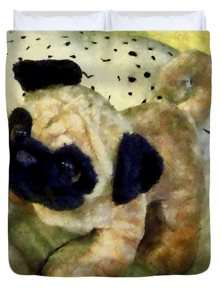 Pug On Pillow Duvet Cover by Susan Savad