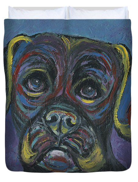 Puggle In Abstract Duvet Cover