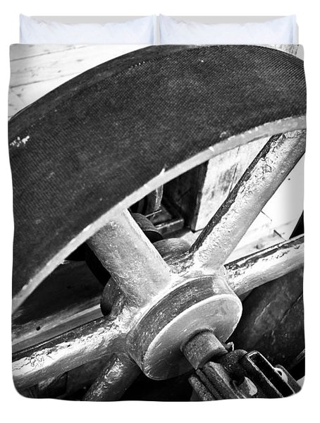 Pulley Wheel From Industrial Sawmill Duvet Cover by Paul Velgos