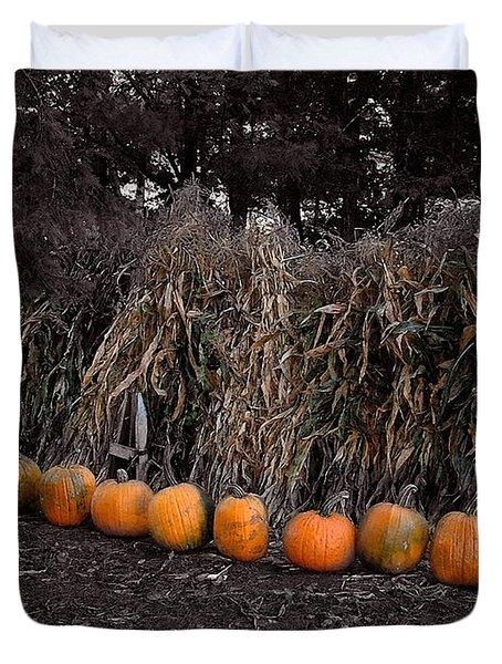 Pumpkins And Cornstalks Duvet Cover