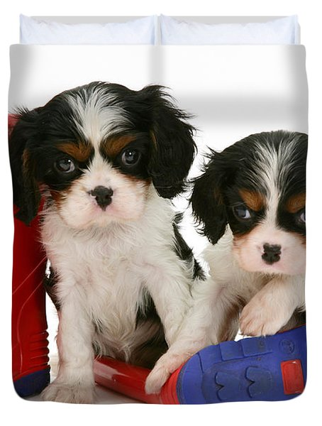 Puppies With Rain Boats Duvet Cover by Jane Burton