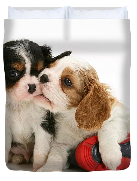 Puppies With Rain Boots Duvet Cover by Jane Burton