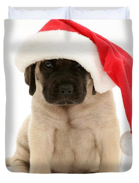 Puppy In A Santa Hat Duvet Cover by Jane Burton