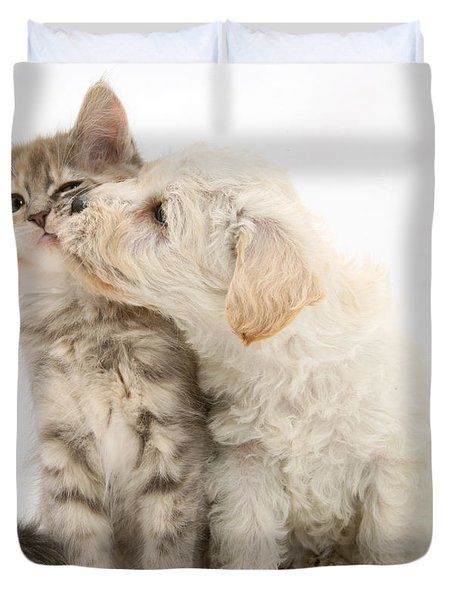 Puppy Nuzzles Kitten Duvet Cover by Jane Burton