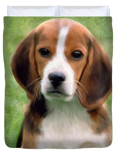 Puppy Portrait Duvet Cover by Snake Jagger