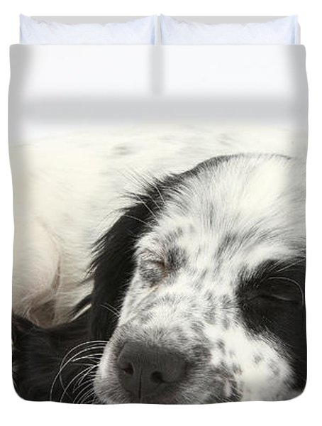 Puppy Sleeping Duvet Cover by Mark Taylor
