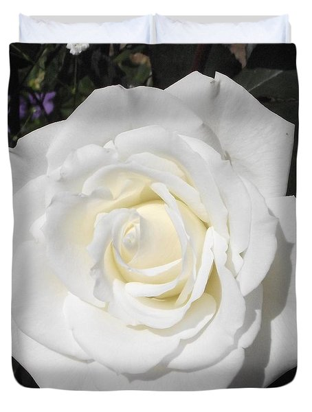 Pure White Rose Duvet Cover