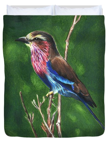 Purple And Blue Bird Duvet Cover