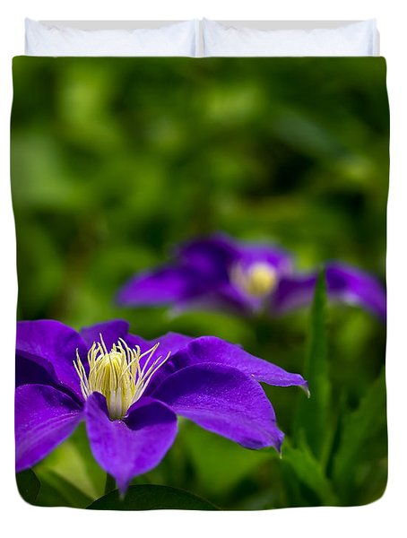 Purple Clematis Flower Duvet Cover
