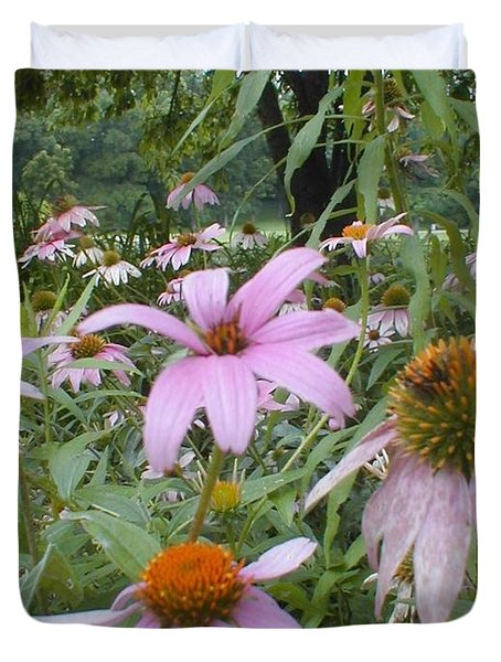 Duvet Cover featuring the photograph Purple Coneflowers by Vonda Lawson-Rosa