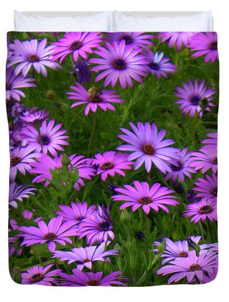 Purple Daisies Square Duvet Cover by Carol Groenen