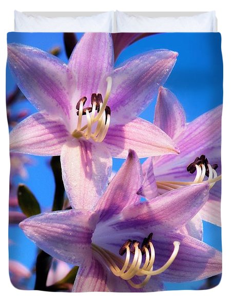 Duvet Cover featuring the photograph Purple Hosta Blooms by Davandra Cribbie