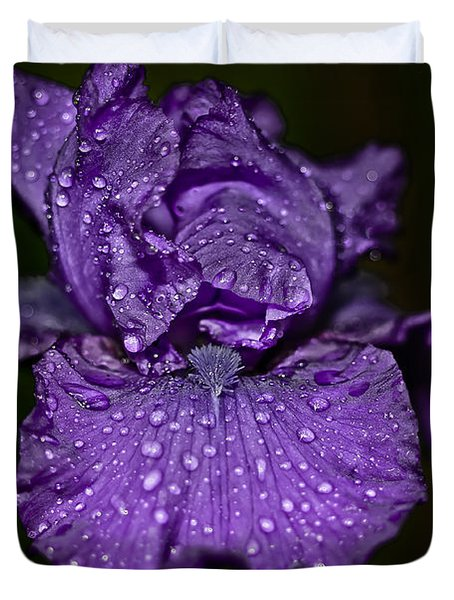 Purple Iris With Water Drops Duvet Cover