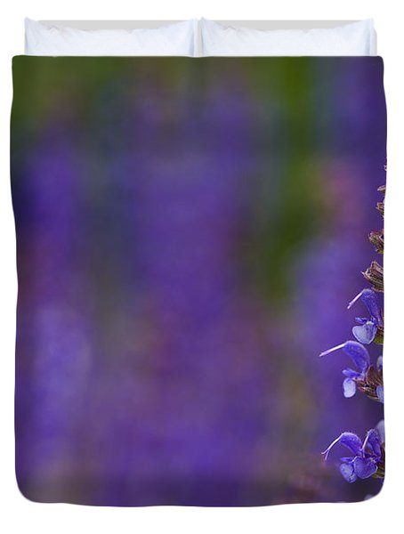 Duvet Cover featuring the photograph Purple Spires by Trevor Chriss