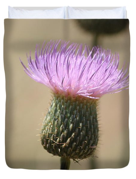 Duvet Cover featuring the photograph Purple Thistle by Donna  Smith