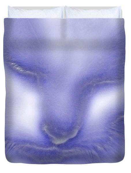 Digital Puss In Blue Duvet Cover by Linsey Williams