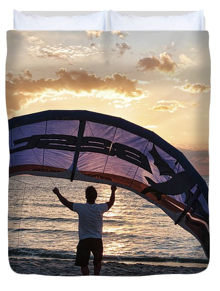 Putting Away The Kite At Clam Pass At Naples Florida Duvet Cover