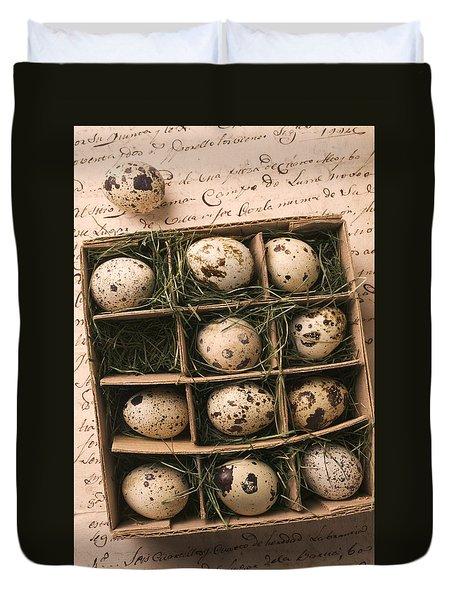 Quail Eggs In Box Duvet Cover by Garry Gay