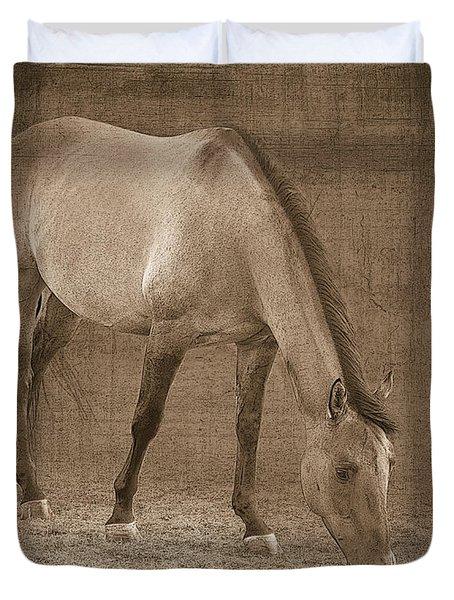Quarter Horse In Sepia Duvet Cover by Betty LaRue