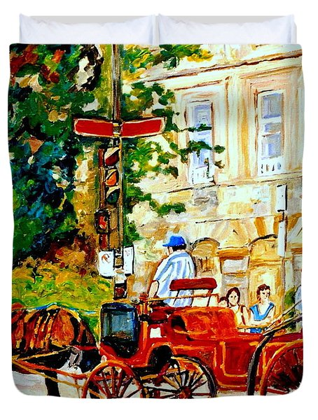 Quebec City Street Scene The Red Caleche Duvet Cover by Carole Spandau