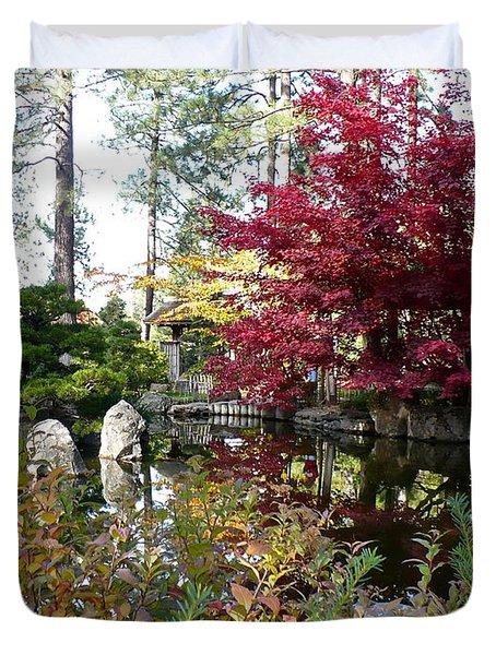 Quiet Autumn Pond Duvet Cover by Carol Groenen