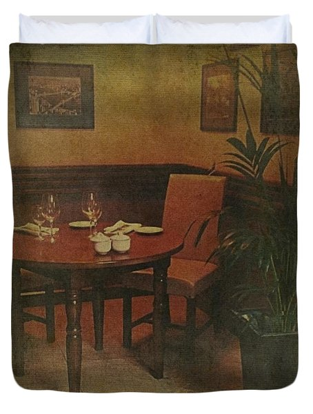 Quiet Nook In Hotel Dining Room Duvet Cover