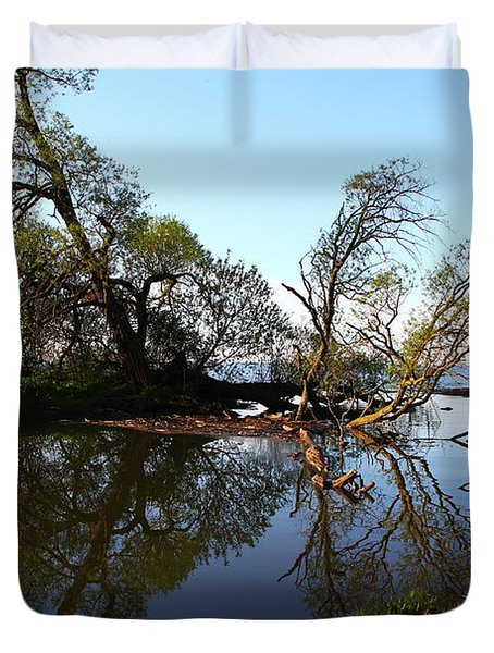 Duvet Cover featuring the photograph Quiet Reflection by Davandra Cribbie