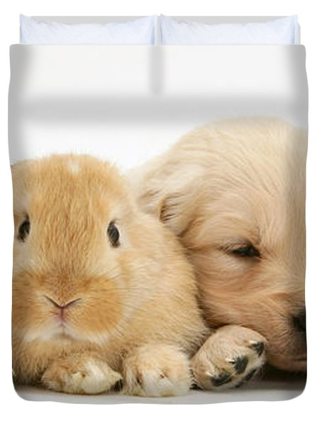 Rabbit And Puppies Duvet Cover by Jane Burton