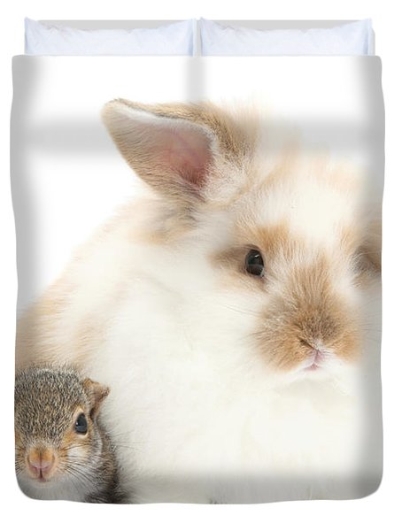 Rabbit And Squirrel Duvet Cover by Mark Taylor