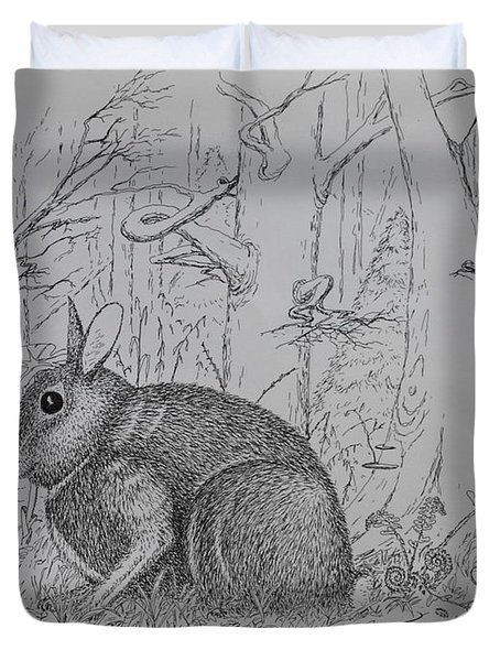 Duvet Cover featuring the drawing Rabbit In Woodland by Daniel Reed
