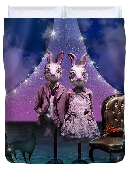Rabbits In Love Duvet Cover by Rosa Cobos