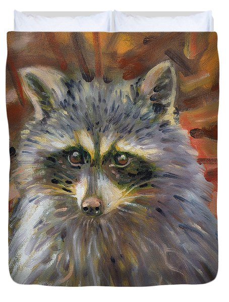 Duvet Cover featuring the painting Racoon by Donald Maier