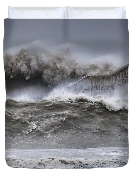Raging Black Sea Duvet Cover by Evgeni Dinev