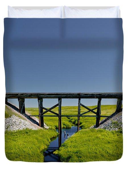 Railroad Trestle Duvet Cover by Roderick Bley
