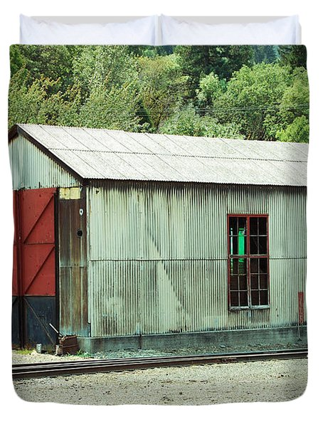 Railroad Woodshed 2 Duvet Cover by Holly Blunkall