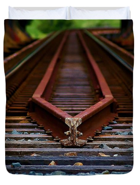 Railway Track Leading To Where Duvet Cover