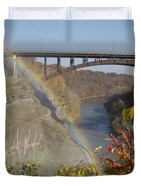 Duvet Cover featuring the photograph Rainbow At Lower Falls by William Norton