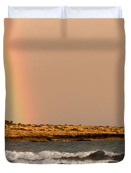 Rainbow By The Sea Duvet Cover by Stelios Kleanthous