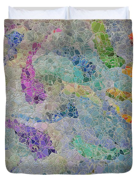 Rainbow Fish Mosaic Tile Abstract Duvet Cover by Debbie Portwood