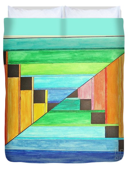 Rainbow In Line Duvet Cover