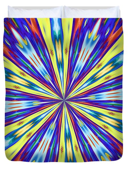 Duvet Cover featuring the digital art Rainbow In Space by Alec Drake