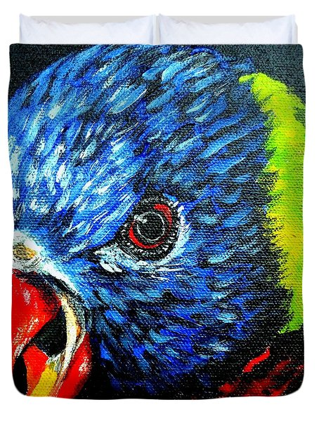 Duvet Cover featuring the painting Rainbow Lorikeet Look by Julie Brugh Riffey