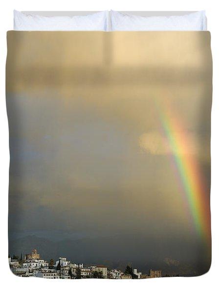 Rainbow Over Granada Yesterday Duvet Cover by Guido Montanes Castillo