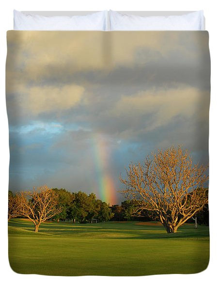 Duvet Cover featuring the photograph Rainbow Over Princeville by Lynn Bauer