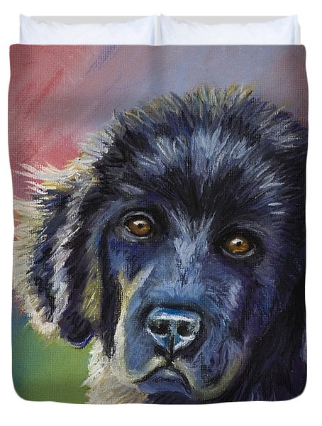 Rainbows And Sunshine - Newfoundland Puppy Duvet Cover