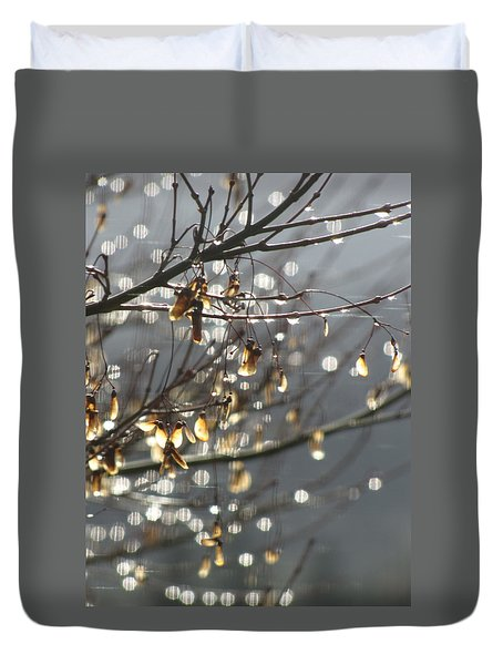 Duvet Cover featuring the photograph Raindrops And Leaves by Katie Wing Vigil