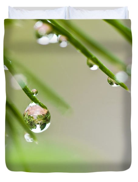 Duvet Cover featuring the photograph Raindrops On Needles by Trevor Chriss