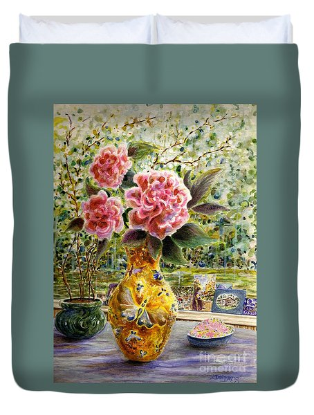 Duvet Cover featuring the painting Rainy Afternoon Joy by Dee Davis